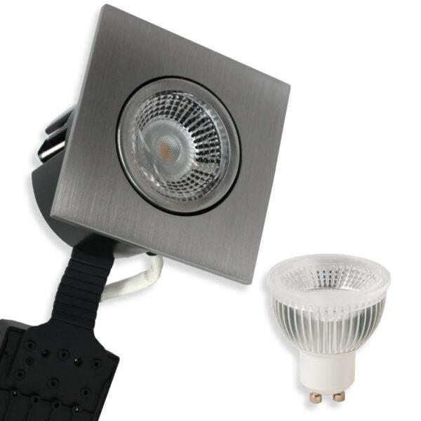 5.5W LED Spot HL Firkant, Mat.Alu Quick UNI Install GU10, 400lm (Dæmpbar)