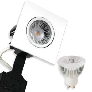 5.5W LED Spot HL Firkant, Mat.Hvid Quick UNI Install GU10, 400lm (Dæmpbar)