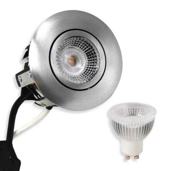5.5W LED Spot HL, Mat.Alu Punto GU10, 400lm (Dæmpbar)