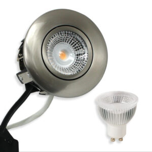 5.5W LED Spot HL Rustfrit, Børst. Stål Punto GU10, 400lm (Dæmpbar)