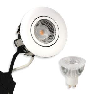 5.5W LED Spot HL Rustfrit, Mat.Hvid Punto GU10, 400lm (Dæmpbar)