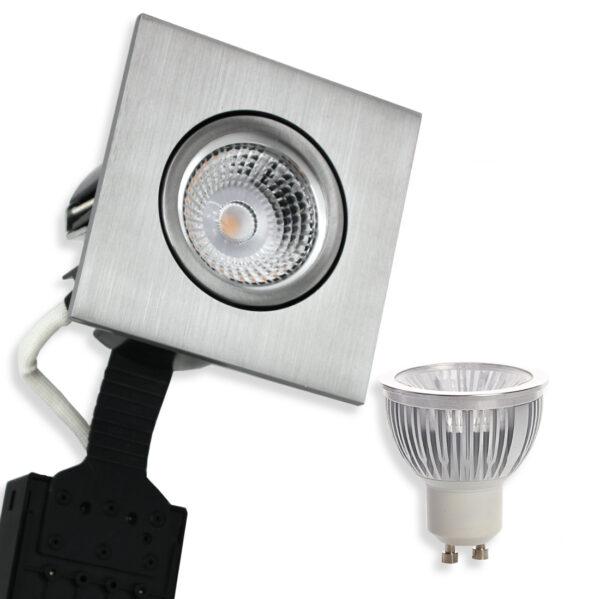 5.5W Ra95 LED Spot Firkant, Alu. Quick UNI Install GU10 (Dæmpbar)