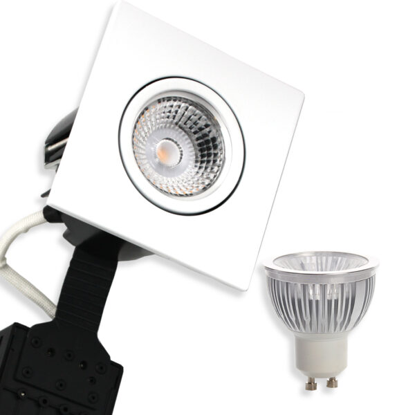 5.5W Ra95 LED Spot Firkant, Mat.Hvid Quick UNI Install GU10, (Dæmpbar)