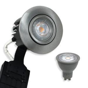 5W LED Spot Børstet. Alu Quick UNI Install inkl. Nordtronic Gu10 (Dæmpbar)