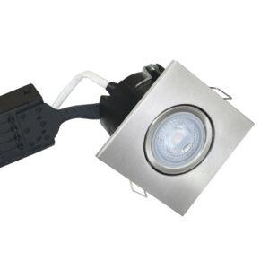 5W LED Spot Firkant, Børst. Alu Quick UNI Install inkl. Nordtronic Gu10 (Dæmpbar)