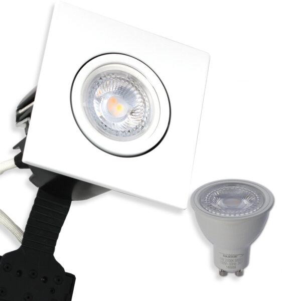 5W LED Spot Firkant, Mat. Hvid Quick UNI Install inkl. Daxtor Gu10 (Ej Dæmp)