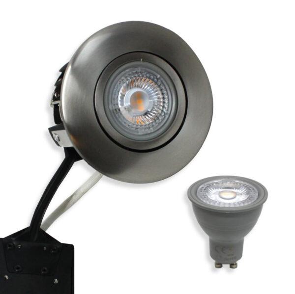 5W Rustfrit LED Spot, Børstet Punto inkl. Nordtronic Gu10 (Dæmpbar)