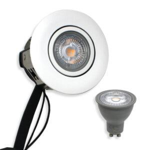 5W Rustfrit LED Spot, Mat.hvid Punto inkl. Nordtronic Gu10 (Dæmpbar)