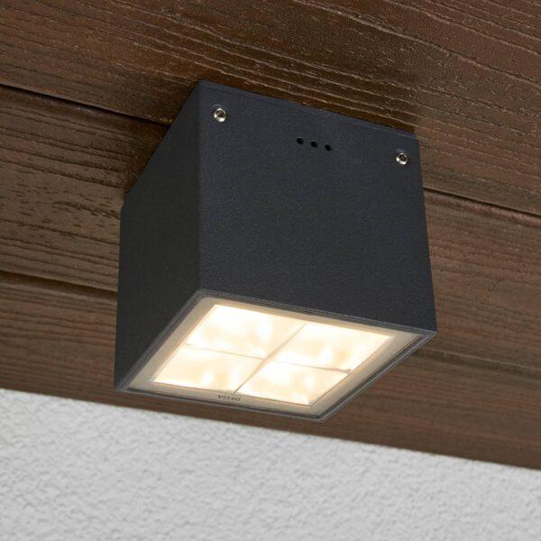 BEGA 66157K3 udendørs loftlampe, grafit 3.000K 38°
