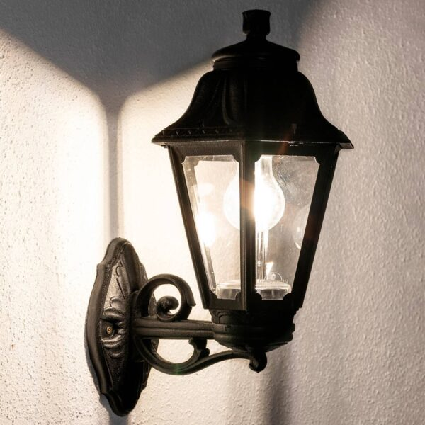 Bisso Anna E27 udendørs LED-væglampe, sort opad