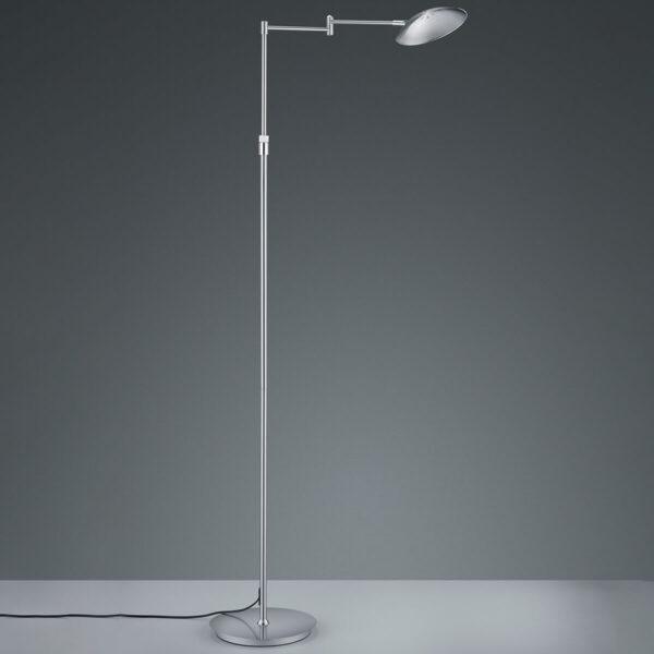 Calcio LED-gulvlampe, justerbar, mat nikkel