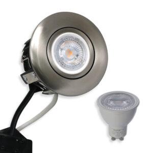 Daxtor 5W GU10 inkl. 230V Rustfrit LED Spot Punto Børst.Stål (Ej Dæmp)