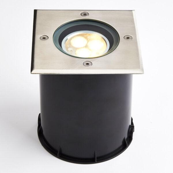 Drejelig LED nedgravningslampe, IP67, kantet