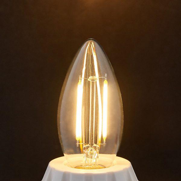 E14 LED kertepære filament 2W, klar, 2.700 K