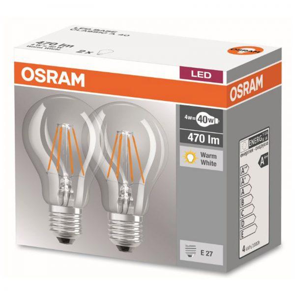 E27 4W 827 LED filament-pære 2'er stk.