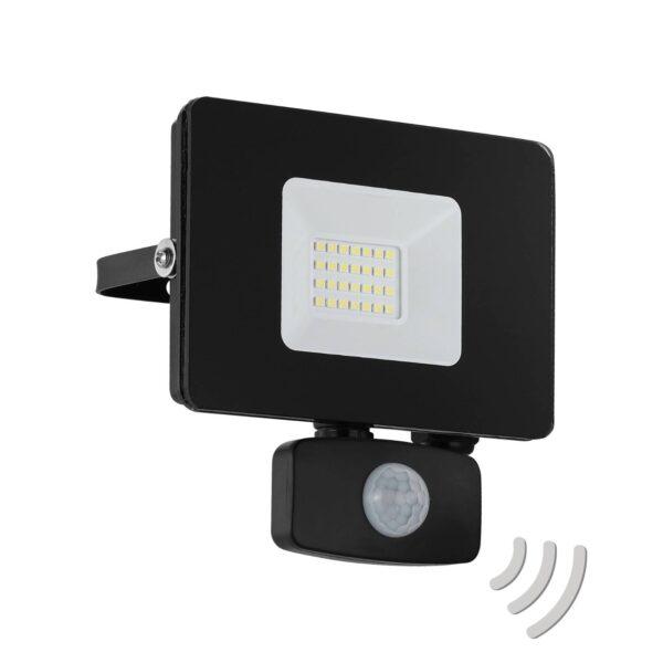 Faedo 3 udendørs LED-spot med sensor, sort, 20 W