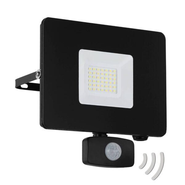 Faedo 3 udendørs LED-spot med sensor, sort, 30 W