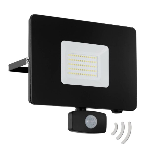 Faedo 3 udendørs LED-spot med sensor, sort, 50 W