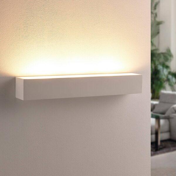 Hvid LED uplight væglampe Santino i gips, kantet