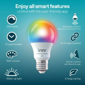Innr WiFi LED-pære E27 9,5 W RGBW 806 lm, sæt m. 2
