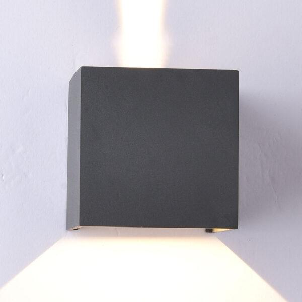 Kantet Davos udendørs LED-væglampe, mørkegrå