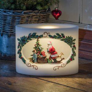 LED Julemand med barn, ægte vokslys