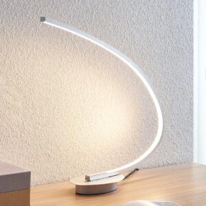 LED-bordlampe Nalevi, bueform, sølv
