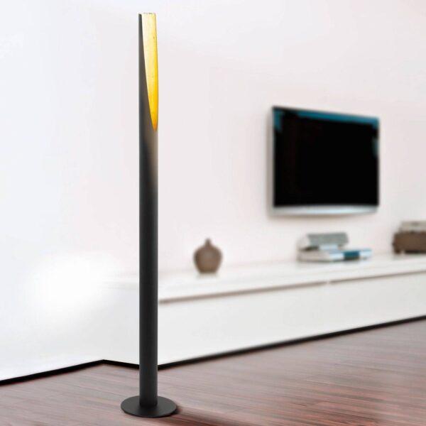 LED-gulvlampe Barbotto i sort/guld