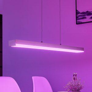 LED-hængelampe Keyan, WiZ, kantet, aflang, nikkel
