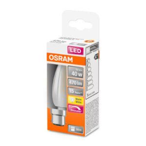 LED-kertepære B22d 5W 2.700K, mat, kan dæmpes