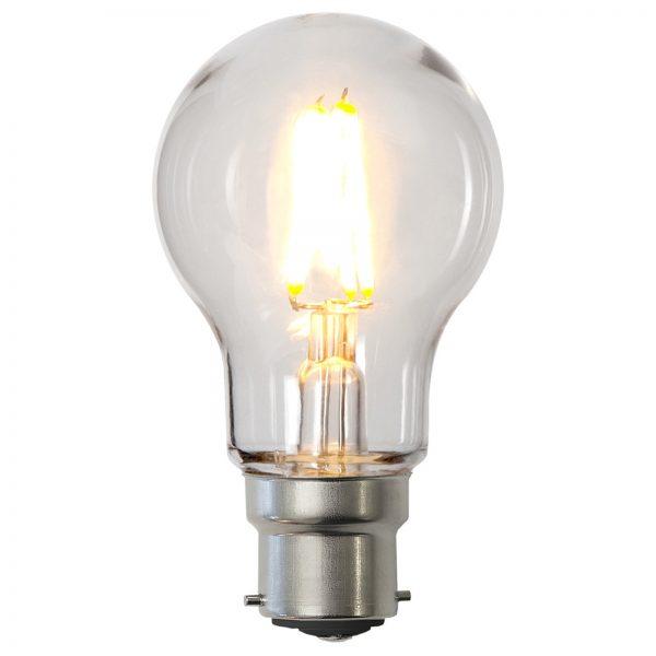 LED-pære B22 A55 2,4W af polycarbonat, klar