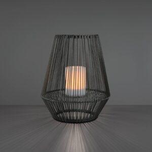 LED-solcellebordlampe Mineros, grå, højde 30,5 cm