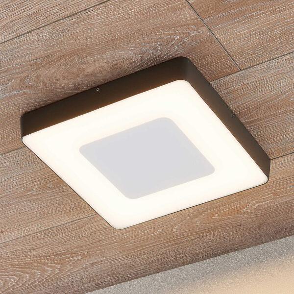 LED udendørs loftlampe, kantet, sensor