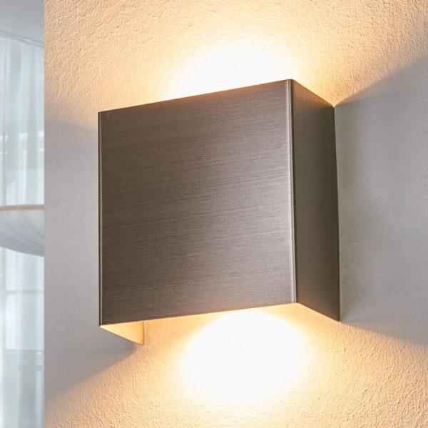 LED-væglampe Manon, satineret nikkel, 10,5 cm