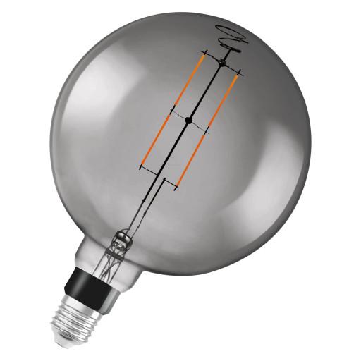 LEDvance Smart+ globe G200 6W filament E27 - bluetooth, røgfarvet