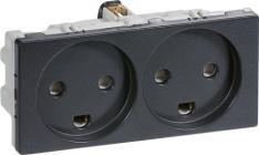LK FUGA® Stikkontakt m/jord 2,0 modul m/2-tændinger koksgrå