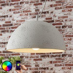 Lindby Smart beton-pendellampe Carolle, RGB-LED
