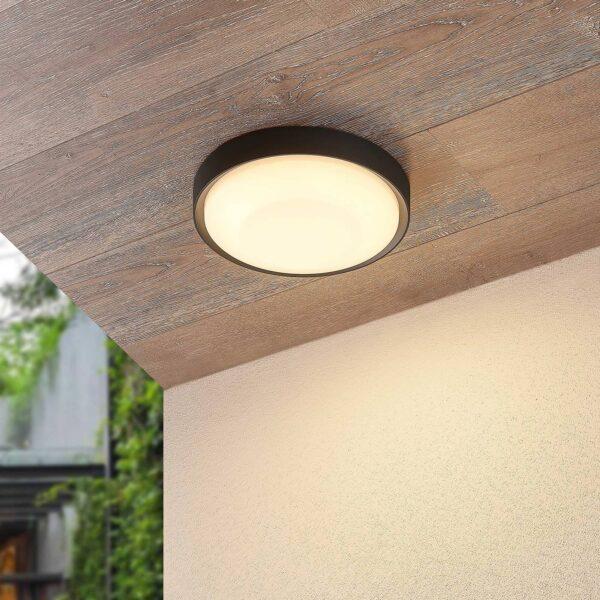Lucande Lare udendørs loftlampe med LED, Ø 25 cm