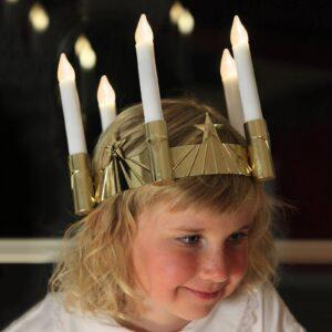 Lucia-krone m. LED og fem lysk.