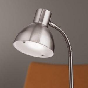 Mat nikkelfarvet LED-skrivebordslampe Isra