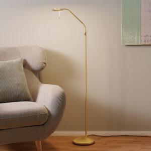 Messingfarvet LED-gulvlampe Zenith med lysdæmper
