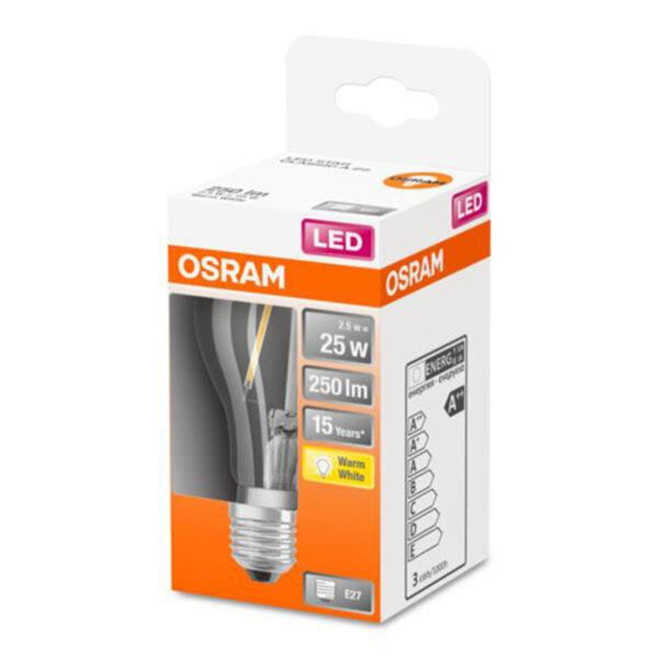OSRAM Classic A LED-pære E27 2,5W 2.700K klar