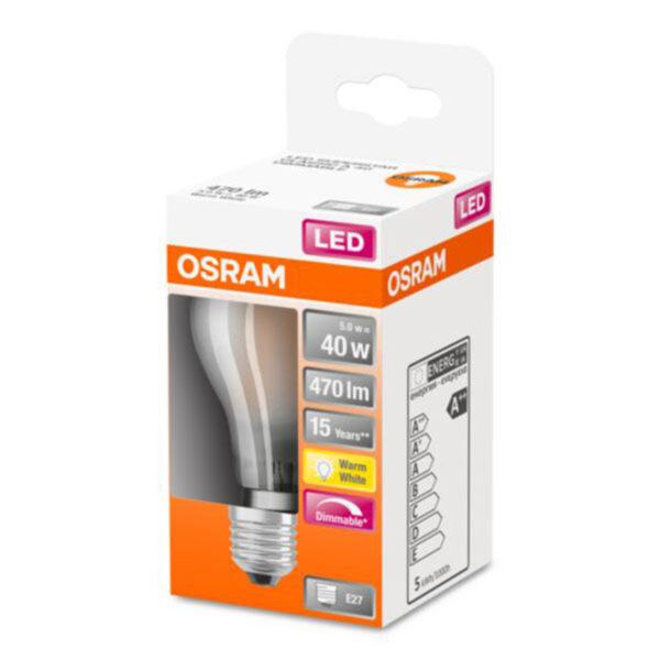 OSRAM Classic A LED-pære E27 4,5W 2.700K mat dæmp.