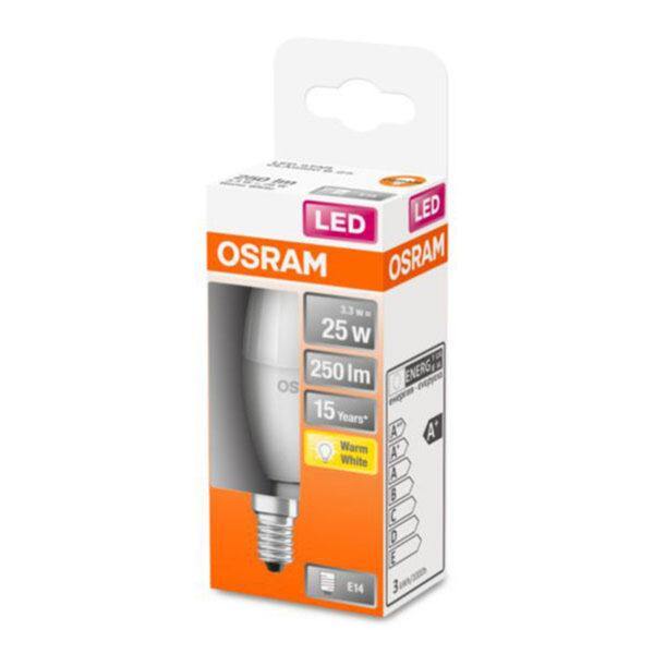 OSRAM Classic B LED-pære E14 3,3W 2.700K mat