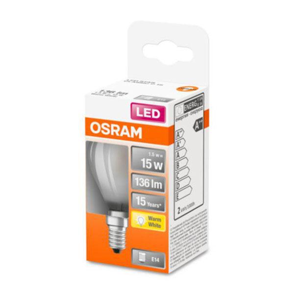 OSRAM Classic P LED-pære E14 1,5W 2.700K mat