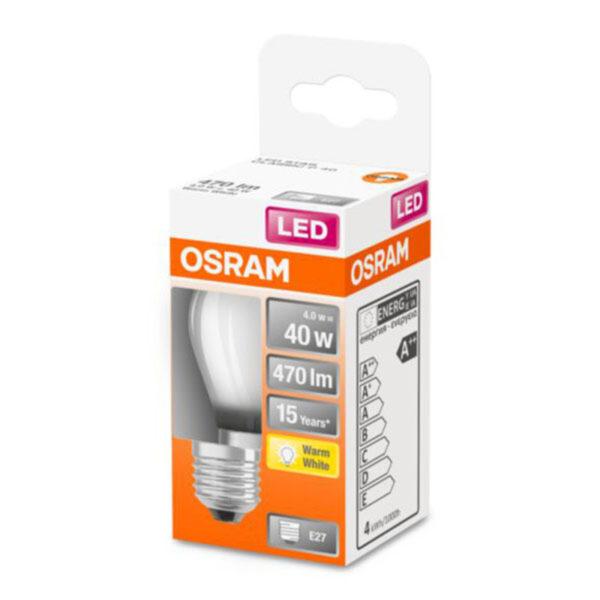 OSRAM Classic P LED-pære E27 4W 2.700K mat