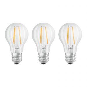 OSRAM LED-pære E27 Classic filament 840 7W 3 stk