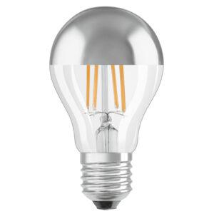 OSRAM LED-pære E27 Mirror sølv 4W, varmhvid