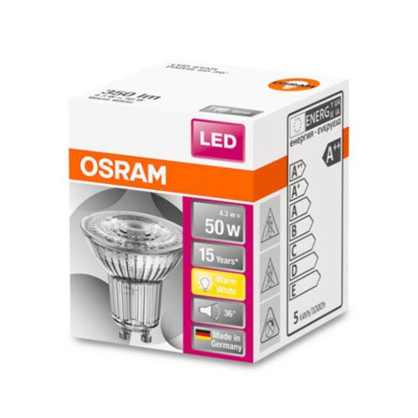 OSRAM LED-reflektor Star GU10 4,3W varmhvid 36°