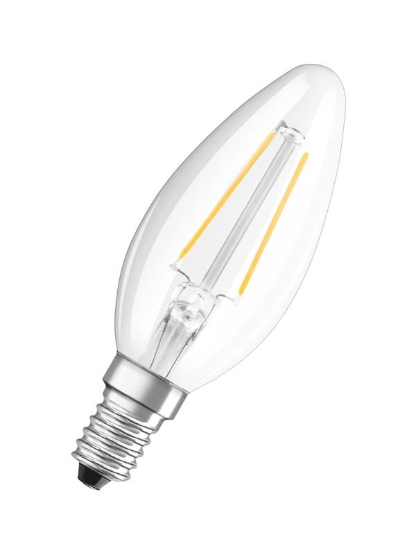 Osram LED pære Kerte 1,5W/827 (15W) filament klar E14